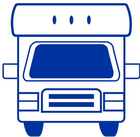 Icon of a recreational vehicle motor home.