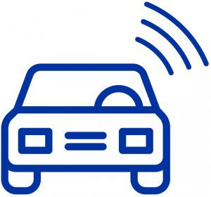 Vehicle icon depicting Advanced Driver Assistance Systems (ADAS) fields surrounding vehicle.