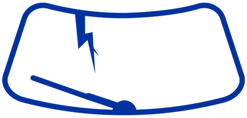Icone de pare-brise montrant des dommages au verre automobile résultant en une fissure réparable