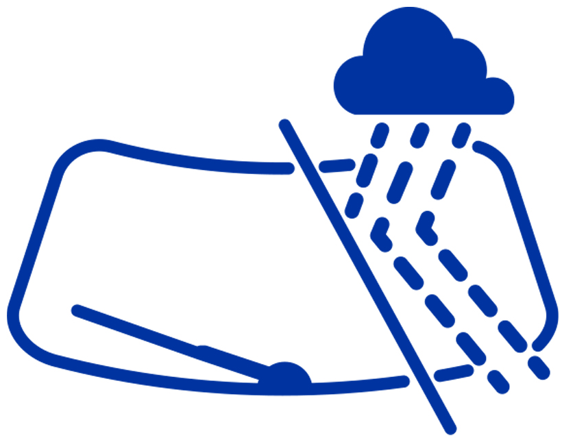 Windshield icon showing the hydrophobic effect of Aquapel ® glass treatment application.
