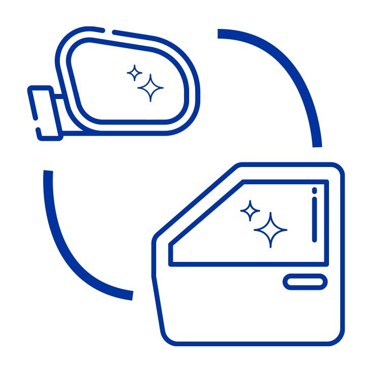 Icon showing automotive door glass and mirror glass.